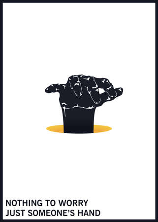 Frightening hand climbs out of the hole. Black and white minimal illustration. Vector design elements 矢量图像