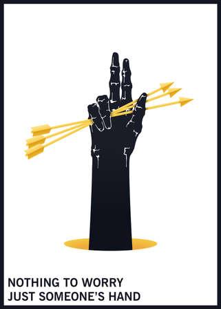 A hand raised upwards holding three arrows. Black and white minimal illustration. Vector design elements 矢量图像