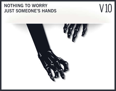 Graphic template with two mystical and scary hands from the slit. Modern mock-up. Vector design elements