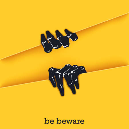 Be beware. Funny poster template for Halloween. Two scaring hands crawl out of the gap. design elements