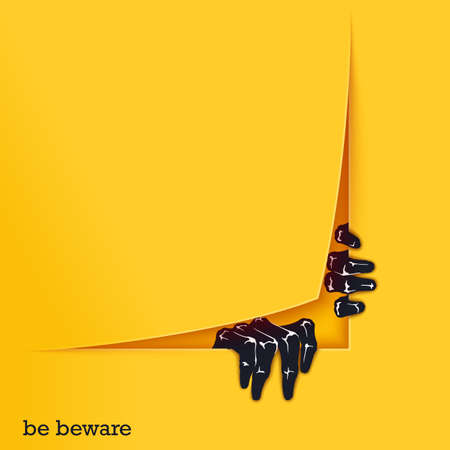 Be beware. Funny poster template for Halloween. Two scaring hands crawl out of the gap. Vector design elements