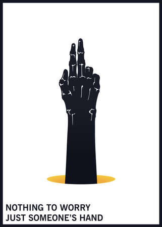 Gesture of two fingers up. Black and white minimal illustration. Vector design elements Stock Illustratie