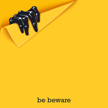 Be beware. Funny poster template for Halloween. A scaring hand come out from a folded corner. Vector design elements