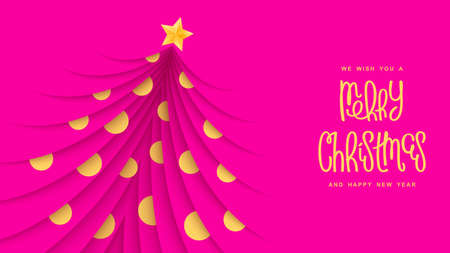 Merry Christmas festive banner. Trendy papercut style with layered effect. Vector holiday design