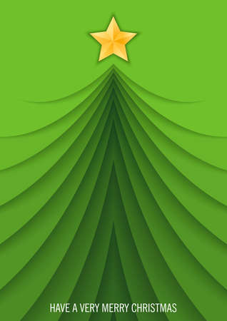 Modern Merry Christmas and Happy New Year poster. Minimalistic design with Christmas tree. 3D papercut illustration. Vector banner