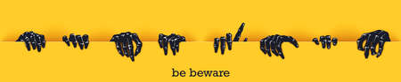 Be beware. Funny poster template for Halloween. Many scaring hands crawl out of the gap. Vector design elements