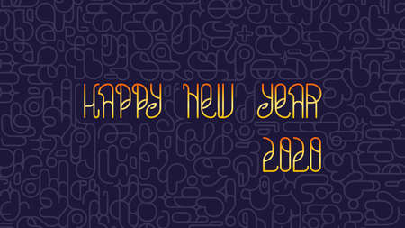 Modern Happy New Year 2020 background. Bright golden stylish lettering with graphic print. Vector design 矢量图像