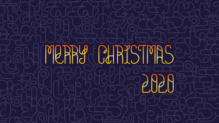 Modern Merry Christmas background. Bright golden stylish lettering with graphic print. Vector design