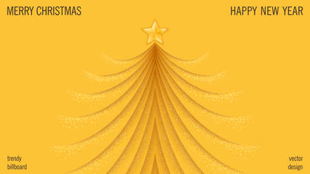 Merry Christmas and Happy New Year background. Classic Greeting card design. Trendy papercut style Christmas tree with layered effect. Vector template