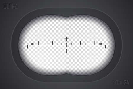 Look through binoculars. Isolated template with shaded edge. Combined view. Vector illustration Stock Illustratie