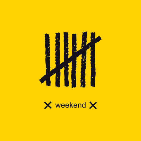 Weekend. Funny creative label with tally marks on a chalkboard. Seven scratch dashes. Vector design