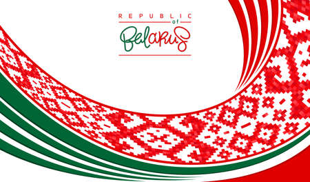 Republic of Belarus. Modern patriotic background. Lineart design with national ornament element and color composition. Stylized trendy placard. Vector template
