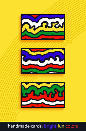 Set of trendy bright abstract composition. Minimalistic layered organic shapes. Hand painted cards design. Vector template