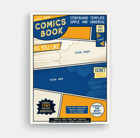Comic book page template. Classic storyboard artwork. Comics magazine cover. Vector illustration Vektorové ilustrace