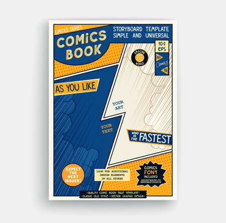 Comic book page template. Classic storyboard artwork. Comics magazine cover. Vector illustration