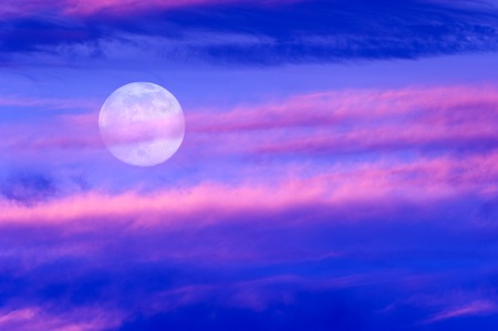 concept images: Moon clouds is a soft beautiful cloudscape over a blue sky with a silhouetted flock of birds flying by as a bright full moon rises in the evening sky.