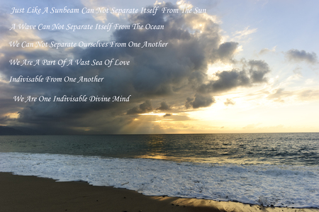 universal enlightenment: Spiritual growth is beautiful and revealing quote quote over layed on a beautiful spiritual landscape sun ray ocean setting.