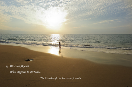 universal enlightenment: Spirit girl is beautiful and revealing quote over layed on a beautiful spiritual landscape sun ray ocean setting. Stock Photo