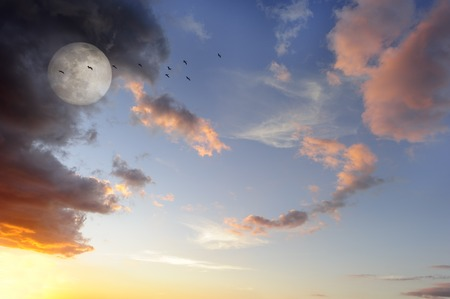 colorful cloudscape: Moon clouds birds is a vibrant surreal fantasy like cloudscape with the ethereal heavenly full moon rising among the vibrant wispy colorful cloudscape.