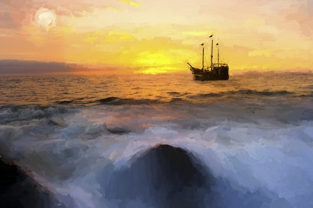 Pirate ship ocean sunset fantasy is a brightly lit golden seascape with a pirate ship anchored at sea with the full moon rising in the sky as a gentle wave rolls to the shore.