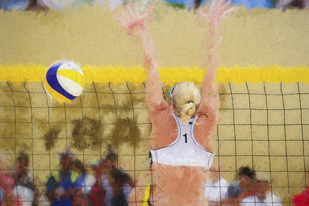 opponent: Volleyball player is a female athlete beach volleyball player rising up to battle her opponent at the net. Stock Photo