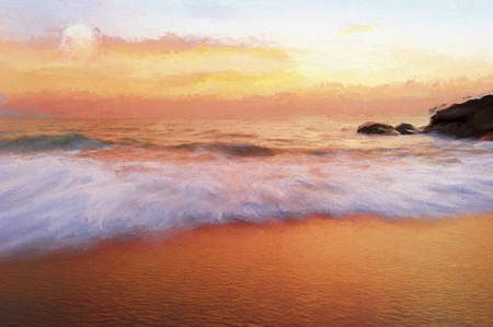 sunset beach: Ocean sunset is a soft pastel tuxtued colored beach setting painting with a detailed cloudscape and a gentle wave rolling to shore. Stock Photo