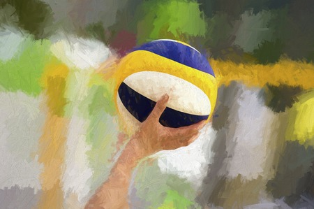 serve: Volleyball player is a female athlete volley ball player in the heat of competition getting ready to serve the ball.
