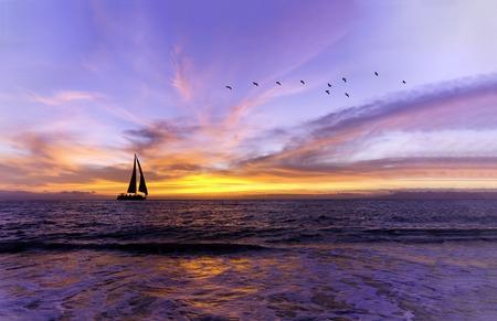 Ocean Sunset ist ein wunderschöner, lebendiger Ozeansonnenuntergang mit einem Segelboot, das auf dem Wasser segelt und Vogelschwärmen, die am Abendhimmel fliegen.