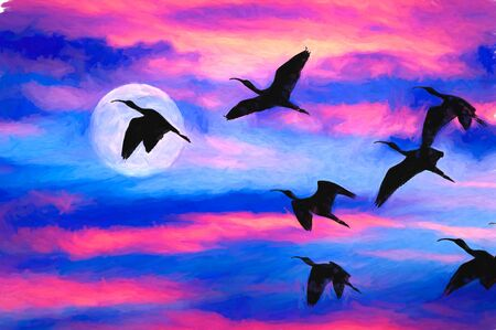 A Silhouetted Flock of Birds Flying By The Full Moon Imagens