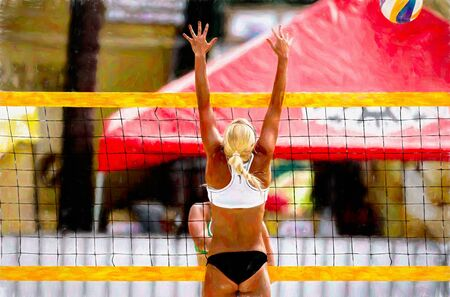 A Female Beach Volleyball Player is Humping at the Net to Block the Volley Ball Imagens
