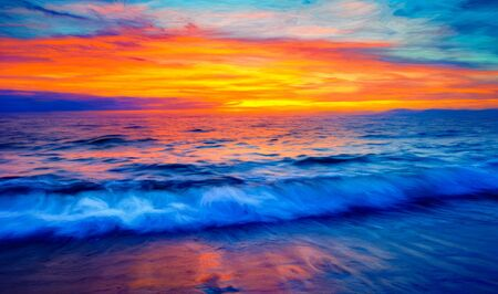 An Ocean Sunset With a Vivid Colorful Sky