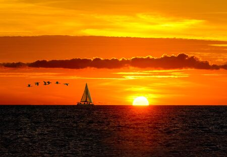 A Sailboat Sails Along the Ocean as the Sun Sets Above the Clouds on the Horizon and Birds Fly in the Background
