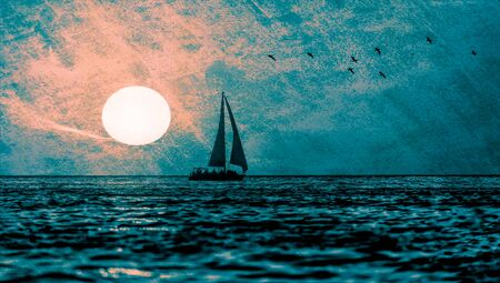 A Textured illustration of a Sailboat Sailing on the Ocean