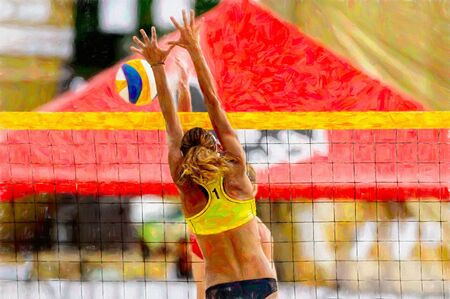 A Female Beach Volleyball Player is Blocking at the Net