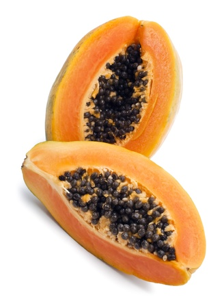 Ripe papaya isolated on the white background photo