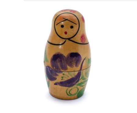 nested: Russian nested doll isolated on the white background