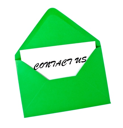Conact us- card in green envelope isolated on white Stock Photo - 8464848