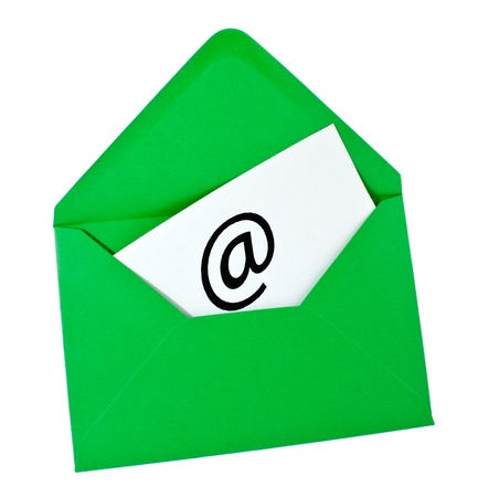 Green envelope with email symbol isolated on white Stock Photo - 8464849