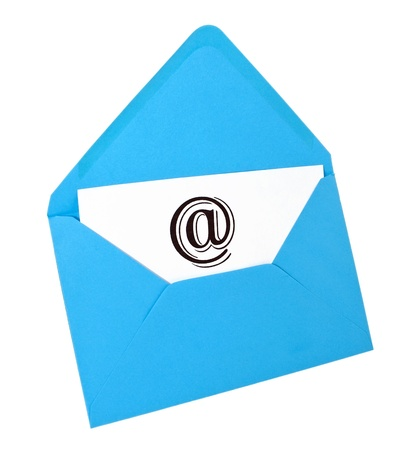 Email symbol card in blue envelope isolated on white Stock Photo - 8464850