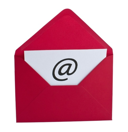 Email symbol in red envelope isolated on white photo