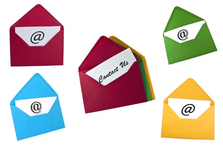 Set of email symbol and contact us card in envelopes isolated on white Stock Photo - 8464906