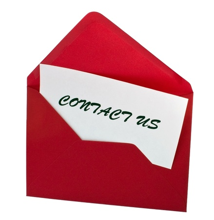 Red letter with card contact us, isolated on white Stock Photo - 8464898