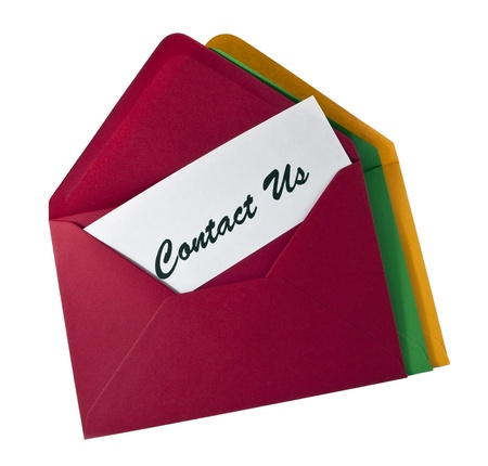 correspond: Contact Us- card in the envelopes isolated on white
