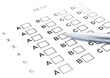 The test list and pen on the examination