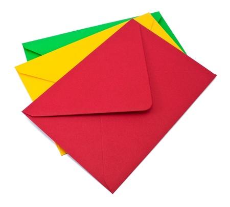 Three envelopes on white background photo