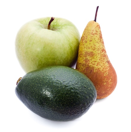 Apple, avocado and pear on the white Stock Photo - 8547321