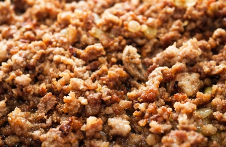 forcemeat: Fried forcemeat with onion