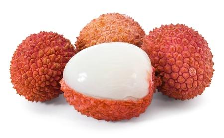 lichee: Group of ripe lichi on white background Stock Photo