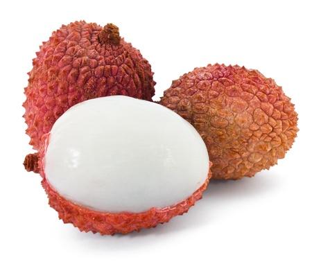litschi: Fresh lechee on the white