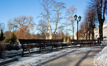 Bench in winter park of Riga Stock Photo - 9212021